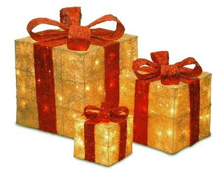 amazoncom set of 3 sparkling gold sisal gift boxes lighted christmas yard art - Lighted Christmas Presents