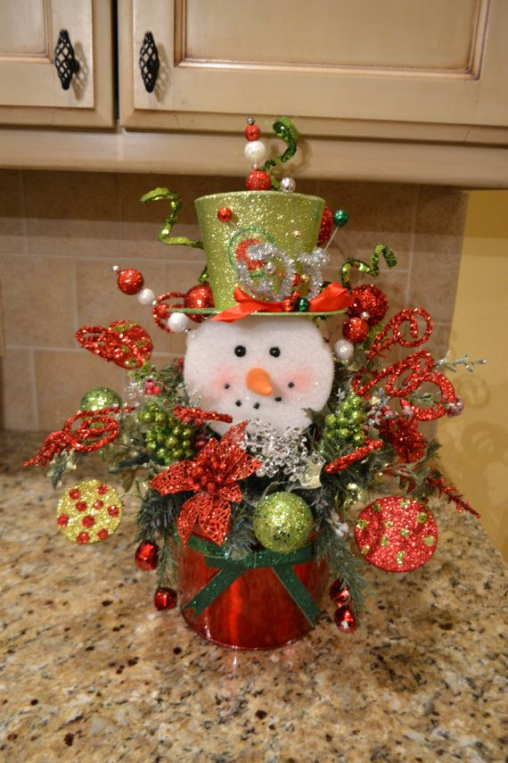 Whimsical snowman arrangement christmas centerpieces