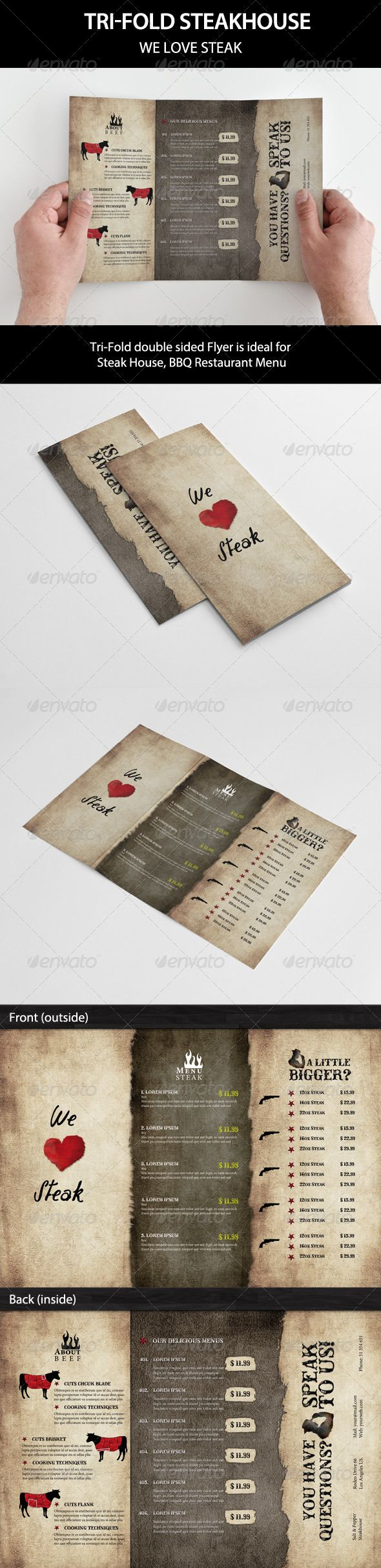 Tri-Fold BBQ Steakhouse and beef #GraphicRiver This Tri-Fold double sided Flyer is ideal for a Steak House or BBQ Restaurant Menu. Eeasy to personalize! Just replace placeholders with your images, change descriptions & prices.