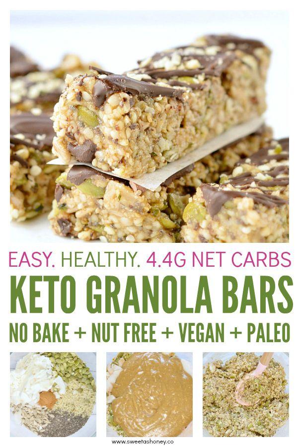 Keto Granola Bars Easy Chewy No Bake Hemp Seeds Bars 100 Nut Free Grain Free Vegan With Only 4 2 N Keto Granola Easy Granola Bars Low Carb Protein Bars