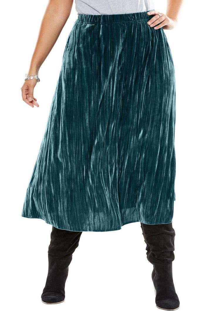 Petite Crinkle Velour Skirt - Women's Plus Size Clothing