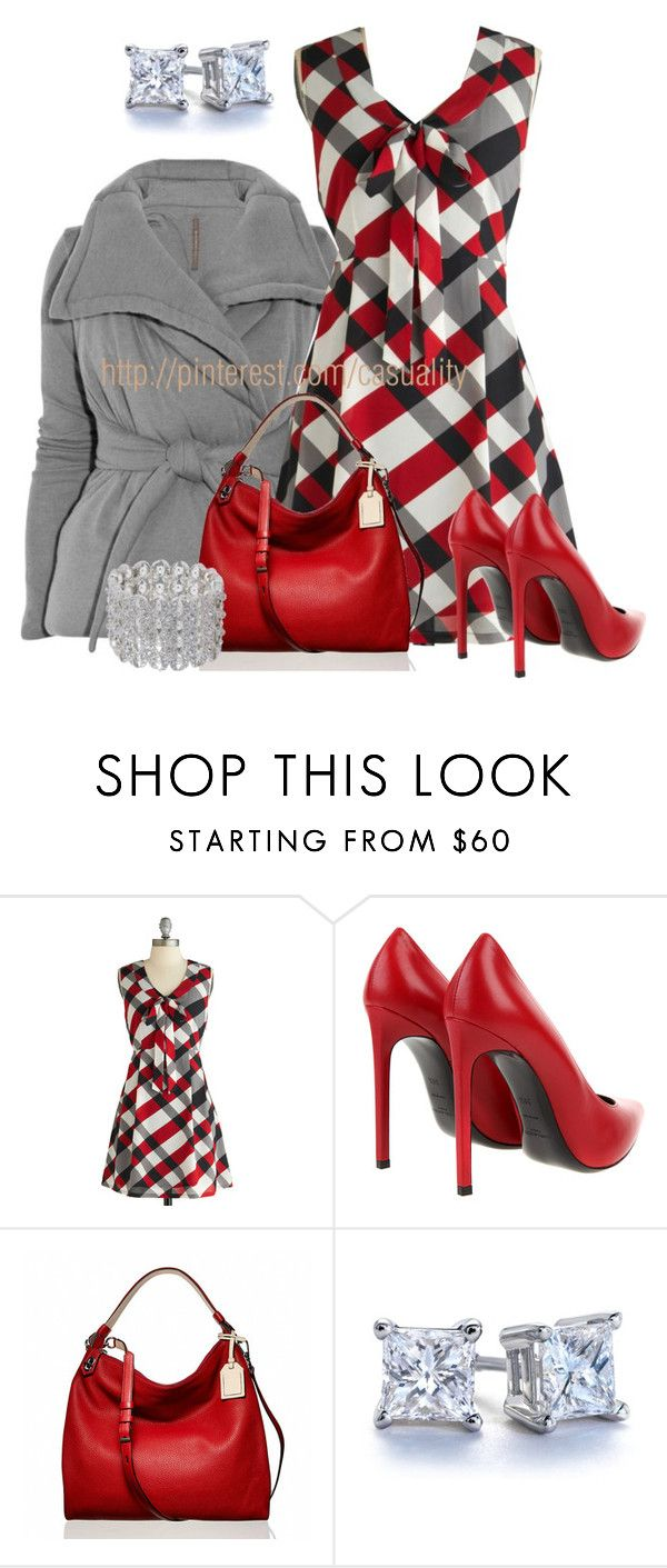 """""""Tulle Plaid Dress & Sexy Red Pumps"""" by casuality ❤ liked on Polyvore featuring Rick Owens Lilies, Tulle Clothing, Yves Saint Laurent, Reed Krakoff, Blue Nile and Jenny Packham"""