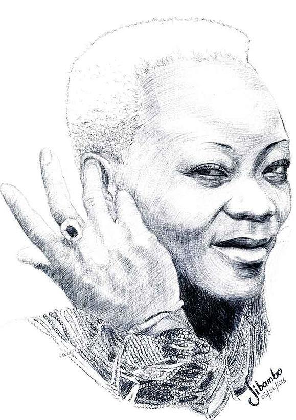 Brenda Fassie ballpoint pen drawing.
