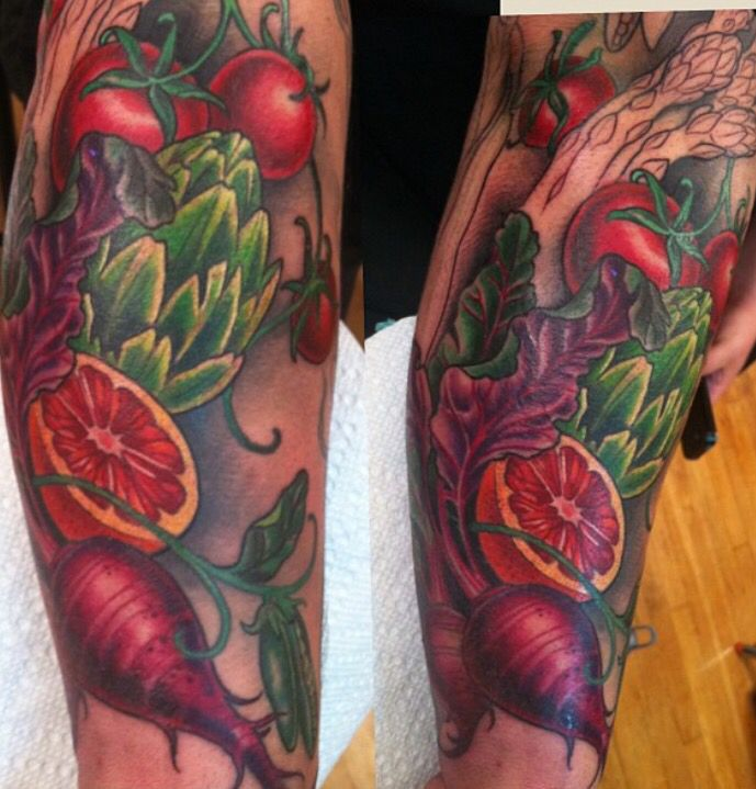 Fruits and veggies tattoo by Kim Saigh at Memoir Tattoo