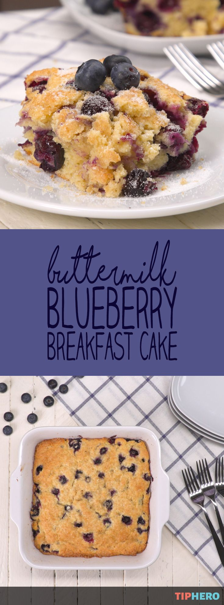 Let them eat cake for breakfast... Treat yourself first thing in the morning with some baked goodness that we swear doesn't count as dessert: buttermilk blueberry breakfast cake with a sugar-crystalized top and, inside, moist crumbs bursting with blueberries. This berry coffee cake tastes just like blueberry muffins, but without the hassle and mess of dealing with all of those muffin cups. Click for the recipe and how to video!