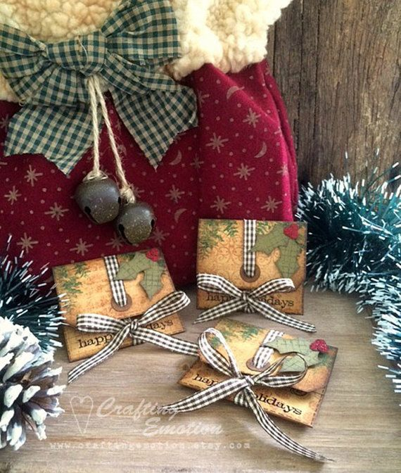 Handmade Rustic Christmas Gift Card/Money envelopes by Crafting Emotion