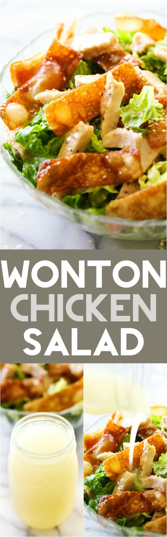 Wonton Chicken Salad - The crisp wontons paired with chicken and the incredible dressing are such a tasty combination of flavors, ingredients and textures!