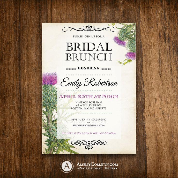 blank beach bridal shower invitations%0A Bridal BRUNCH Invitation Printable  Bridal SHOWER Invite  Bridal TEA Party  Instant Download Rustic Purple
