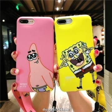 Niedlicher Cartoon Sponge Bob Patrick Stern Plankton Mr. Krabs Case + Strap für iPhone …   – Handyhüllen
