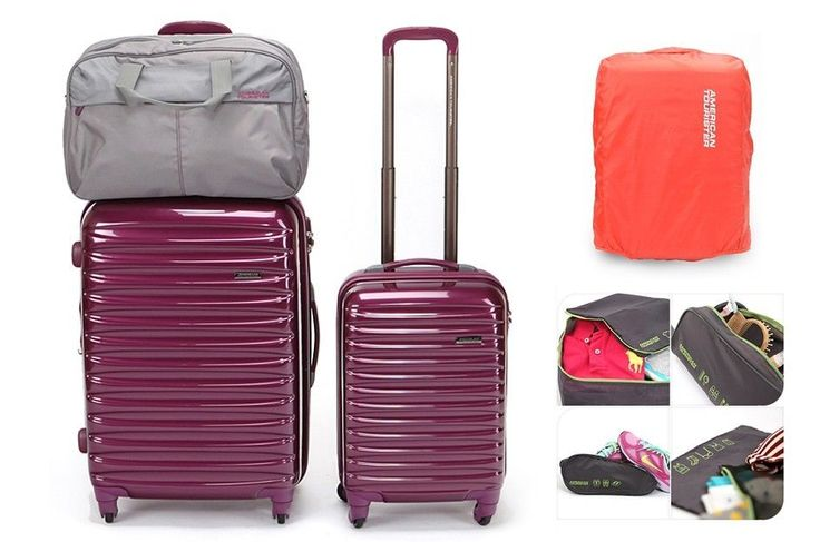 *American Tourister* SPOT LITE 8piece travel bag set extended 360 degree spinner #SamsoniteAmericanTourister
