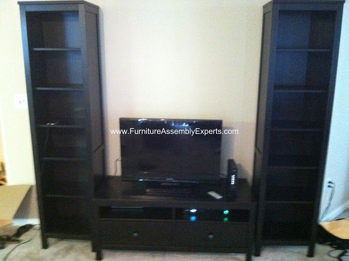Ikea Hemnes Entertainment Center With 2 Bookcases And 1 Tv