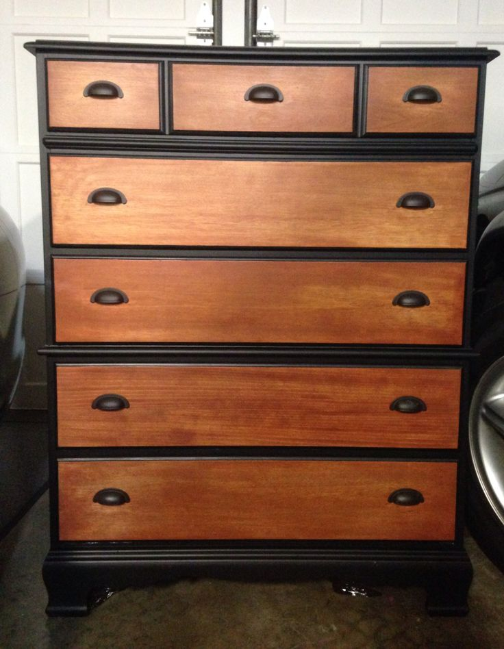 Bassett Colonial Dresser In Black Satin And Stain With