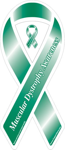 """Muscular Dystrophy Awareness Green Ribbon Car Magnet -  3.5"""" x 8"""" ($2.99 each; 2-9are $2.75 each)"""