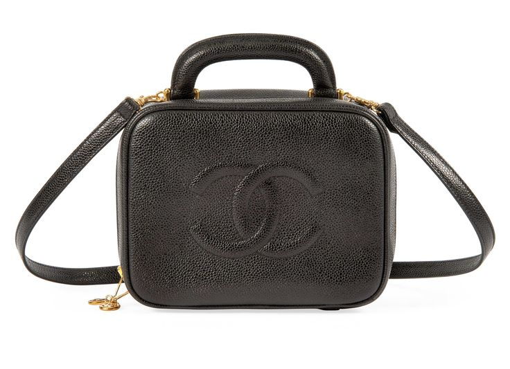 Chanel, 1996-97 a black caviar leather vanity case. The Suzy Menkes Collection #chanel