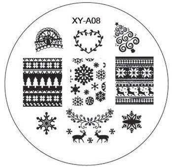 1xChristmas Style Fashion Design DIY Nail Image Stamping Plates 3D Round Nail Art Templates Stencils Manicure Tools