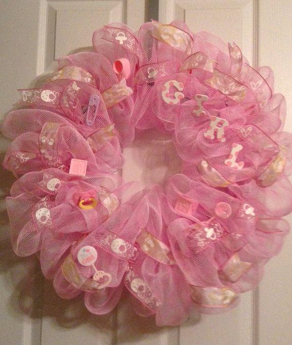 Baby wreath/ Baby Girl Wreath/ Mesh Wreath by Wreaths4u2byPaula