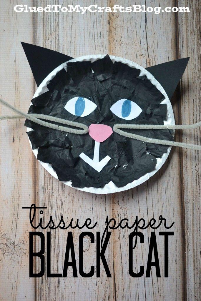 Tissue Paper Black Cat for Halloween - Kid Craft #halloween #preschoolcraft