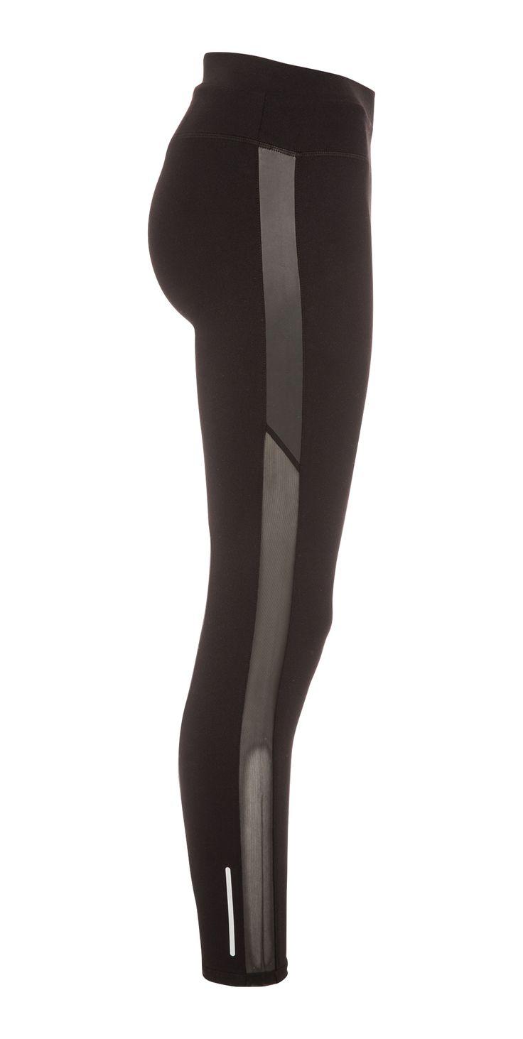 Bien dans mon pantalon ! Pantalon de sport noir avec bande grise et résille sur les cotés et petits détails réfléchissants