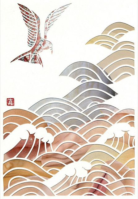 """""""Waves"""" by Mayuko Fujino; cut paper over collage: Waves"""
