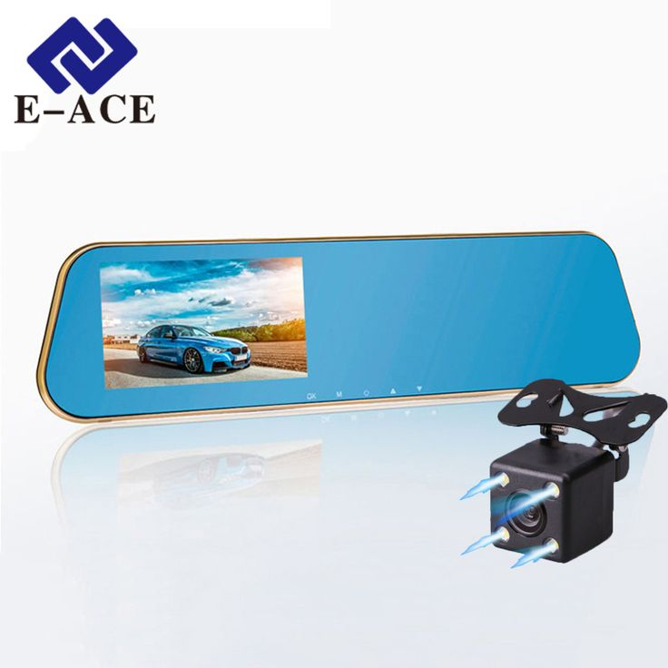 E-ACEフルhd車dvrデジタルビデオレコーダー自動バックミラーデュアルレンズカメラバックミラーレジストラダッシュビデオカメラ