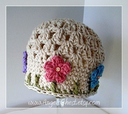 PDF Crochet Pattern Beautiful Spring Beanie Hat with Flowers Instructions for Size Newborn to Adult  No. 16. $6.99, via Etsy.