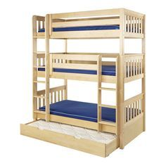 Maxtrix Holy Triple Bunk Bed (Natural) (780) Thumbnail 2- A triple bunk with the roll away bed underneath. This is much like our toddler roll away bed for the twin bunks.