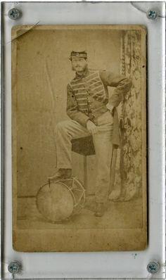 Most Unusual Pose, CDV Portrait of a Civil War Federal Infantry Drummer.