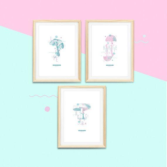 Série de 3 affiches champignons #MUSHROOM   |  Impressions botaniques & graphiques en édition limitée