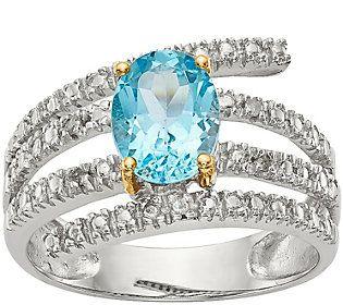 Sterling & 14K Sky Blue Topaz and Diamond Wraparound Ring
