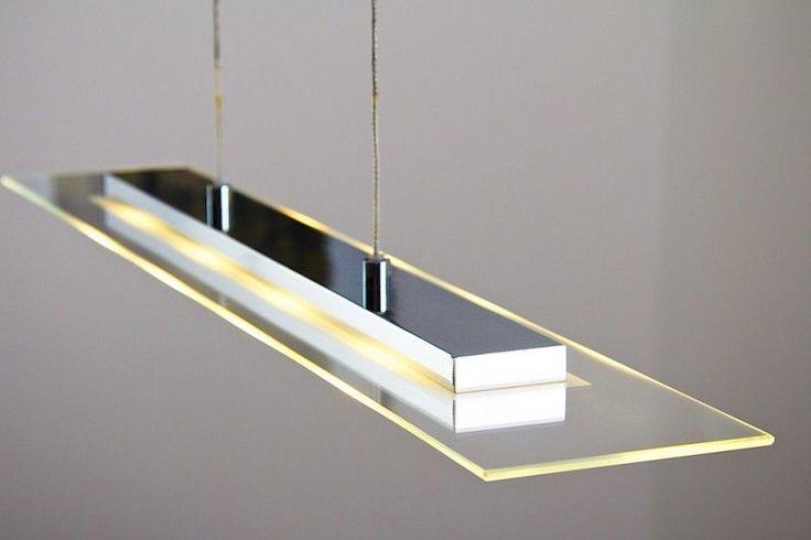 LED Lampada a sospensione metallo cromo vetro satinato design moderno 104408