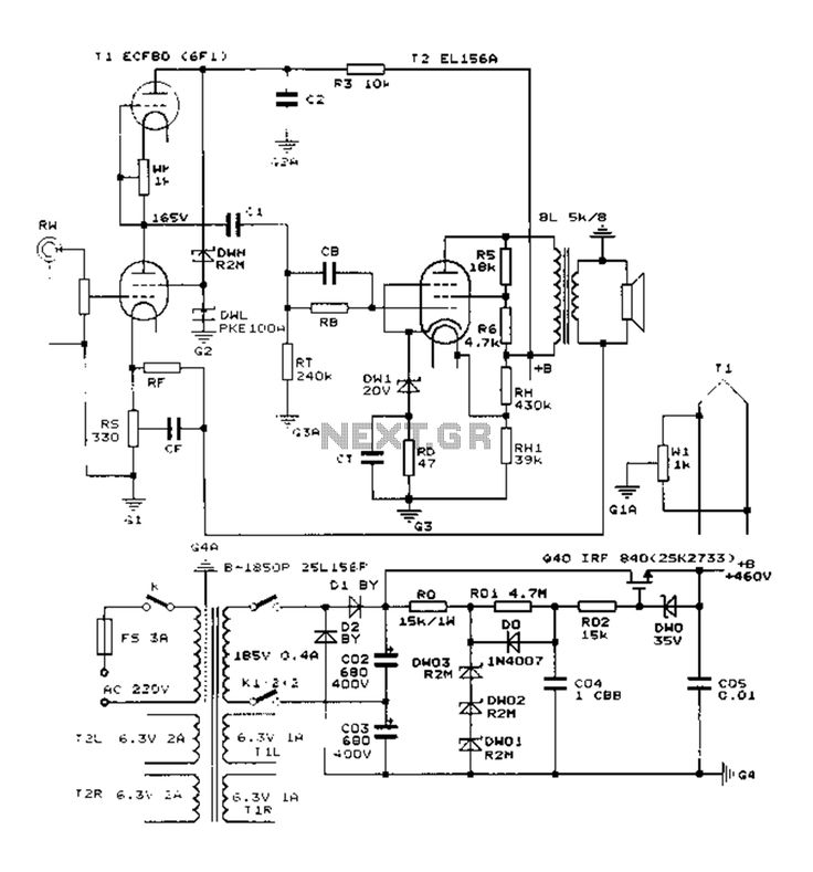Construction 25W single-ended Class A tube amp circuit diagram EL156