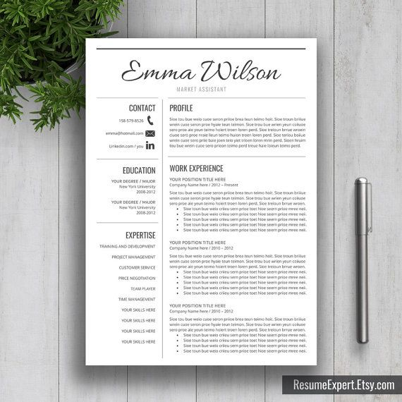 Professional Resume Template / CV Template Cover by ResumeExpert