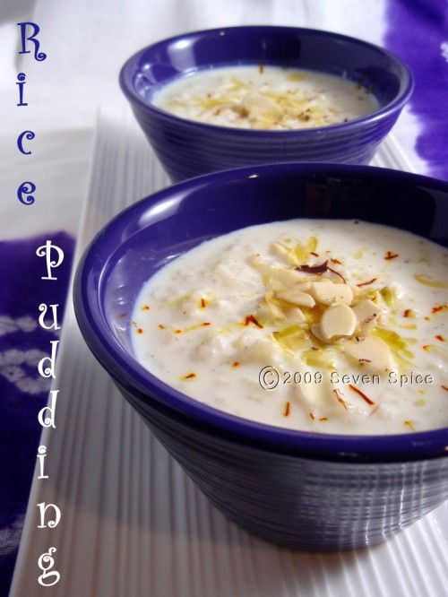 Rice Pudding/Kheer Recipe:  Ingredients:  ·	4 cups Milk – preferably whole milk  ·	1/2 cup uncooked Rice   ·	Sugar – to taste  ·	1/2 tsp Elaichi (Cardamom) powder  ·	Nutmeg powder ~ a pinch  ·	Almonds and Pistachio, chopped