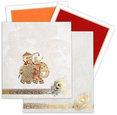 This traditional elephant theme card is made of matt finish card stock sheet with box envelope. Card front comes with matching envelope. Radha krishna artwork on card front and peacock artwork on evelope is printed in a low opacity. Two inserts are available with set of invitation and third insert is available as required.