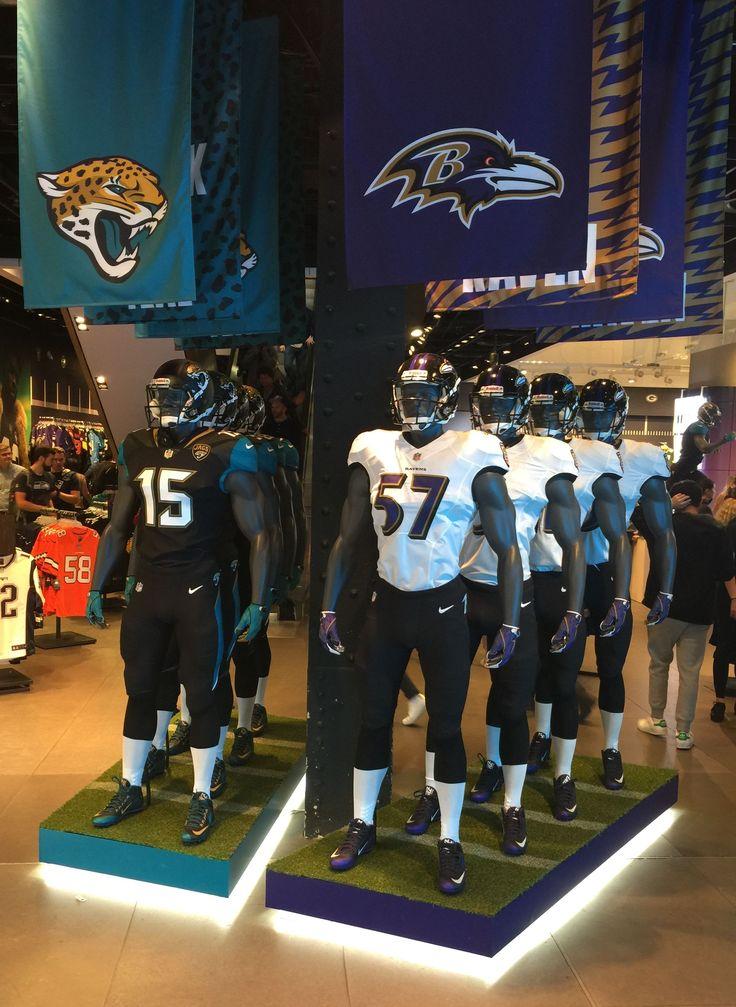 Jacksonville Jaguars and Baltimore Ravens mannequins in Nike shop, Central London during their NFL London game build up. https://www.fanprint.com/licenses/baltimore-ravens?ref=5750