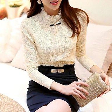 vrouwen plus size Koreaanse stijl chiffon lange mouw onderkant overhemd – EUR € 17.99
