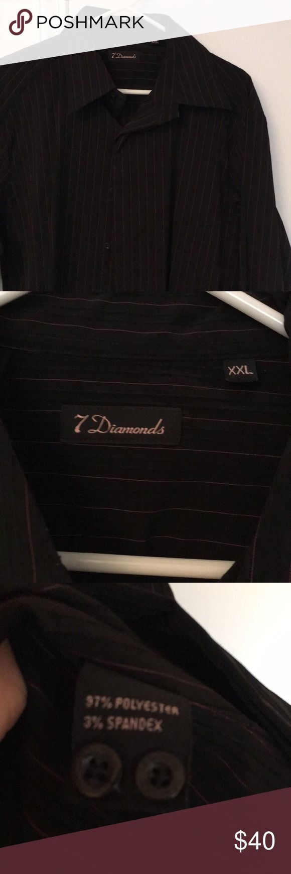 Black 7 Diamonds Dress Shirt with Pink pinstripes Black 7 Diamonds Dress Shirt with Pink pinstripes.  Worn a handful of times still great condition.  Pet & Smoke free Home! 7 Diamonds Shirts Dress Shirts