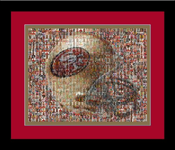 San Fran 49ers Player Mosaic Print Art Made From 80 Past and Present 49er Player Photos. Handmade by The Mosaic Guy