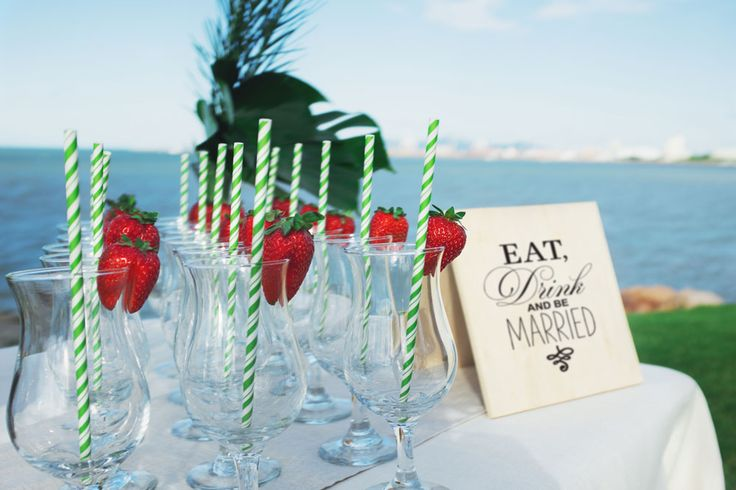 Cocktail glasses set for a beach-side wedding http://www.edeevents.com.au/cocktail-glass