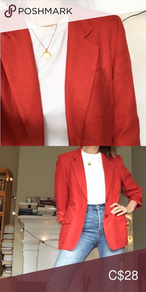 Linen blazer VINTAGE made in USA 🇺🇸 Bright red 90s blazer  Nice shoulder p…