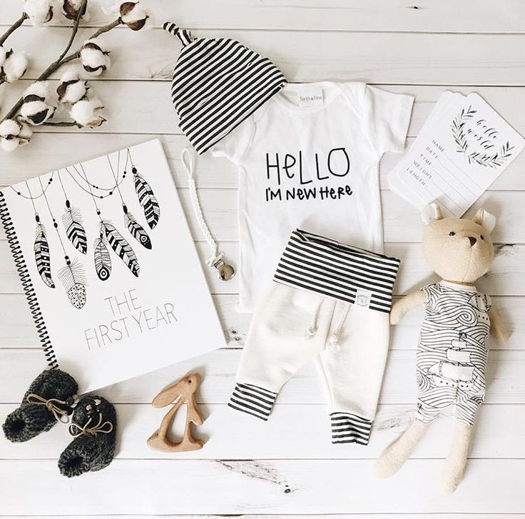 Baby boy, baby girl, newborn, infant, toddler, baby clothes, leggings, harem pants, gender neutral, unisex, hello im new here, hello world, onesie, onzie, onsie, bodysuit, layette, baby shower gift, hospital outfit, milestone book, baby book, baby stuffed animal, cuddle and kind, figs and foxes flatlay, newborn baby hat beanie, black and white monochrome, hipster, modern, trendy baby clothes, crotchet booties, wood teething toy rabbit