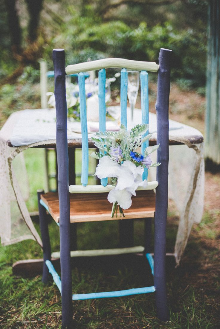 Boho wedding, Wedding chair, Greenwood Chairs, Alice Halliday styling, Vintage Cut Flowers, Kate Bean Photography, Wildflower Weddings