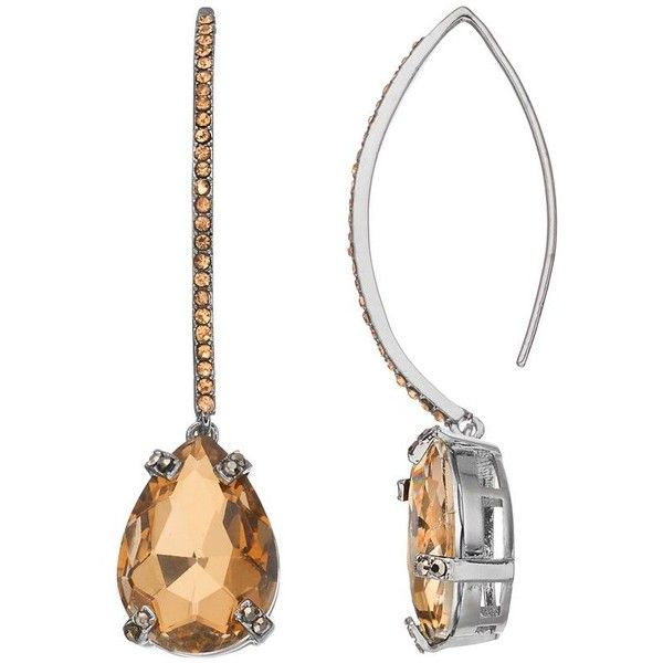 Simply Vera Vera Wang Brown Teardrop Threader Earrings ($15) ❤ liked on Polyvore featuring jewelry, earrings, brown, thread earrings, drop earrings, teardrop jewelry, brown earrings and thread jewelry