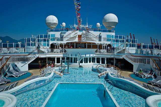 One of many swimming pools on the Diamond Princess