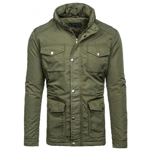 Pánske zimné zateplené bundy zelenej farby - fashionday.eu