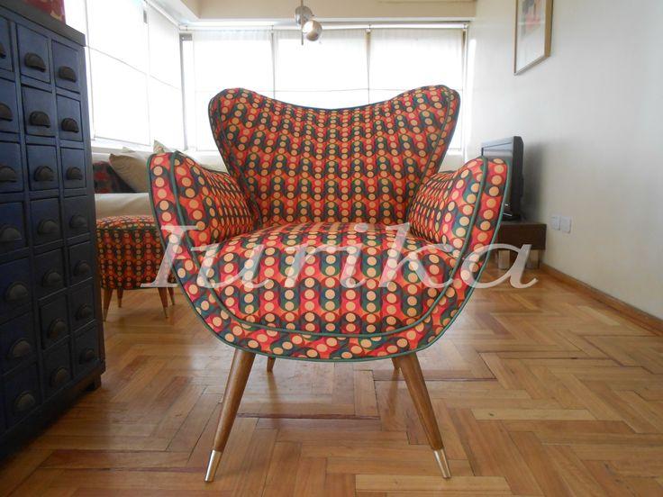 Sill n estilo retro vintage mariposa vinilo y puff - Sillones estilo vintage ...