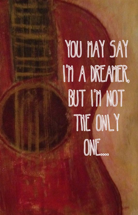 Guitar with Beatles Quote Artwork on Etsy, $12.95