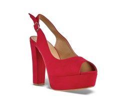 30€ Peep-Toe platform slingback, red and suede pattern. Visit our website now!
