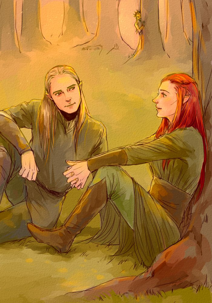Legolas talking to Tauriel while Daddy Thranduil spies in the background. That's awkward.