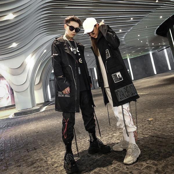4401aa664f Aelfric Eden Gothic Long Trench Coat Men 2018 Hip Hop Hooded Windbreaker  Jackets Fashion Black Streetwear Swag Overcoats KJ39